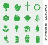 16 green ecology icons set | Shutterstock .eps vector #123605935