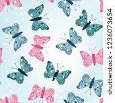 winter multicolor butterflies... | Shutterstock .eps vector #1236073654