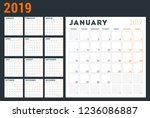 calendar planner for 2019 year. ... | Shutterstock .eps vector #1236086887