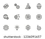 grids and gears line icons. set ... | Shutterstock .eps vector #1236091657
