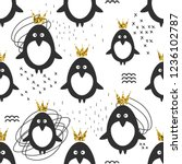 seamless pattern  penguins in... | Shutterstock . vector #1236102787