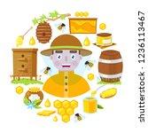 the beekeeper in protective... | Shutterstock .eps vector #1236113467