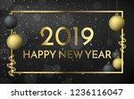 2019 happy new year black matte ... | Shutterstock .eps vector #1236116047