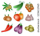 set of vegetables stickers on... | Shutterstock . vector #123611965