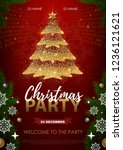 christmas poster with golden... | Shutterstock .eps vector #1236121621