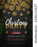 christmas poster with golden... | Shutterstock .eps vector #1236121627