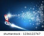 santa claus drive rocket launch ... | Shutterstock .eps vector #1236122767