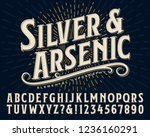 Stock vector silver and arsenic font is an old style display alphabet this vintage lettering style would work 1236160291