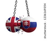 United Kingdom and Slovakia flag political balls smash into each other. 3D Rendering