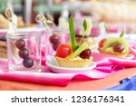 mixed and assorted fruits tart... | Shutterstock . vector #1236176341