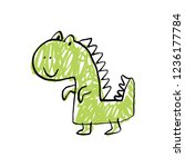 funny doodle cute dinosaur.... | Shutterstock .eps vector #1236177784