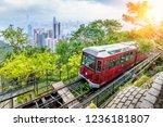 View of Victoria Peak Tram in Hong Kong.