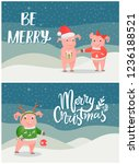 merry christmas postcards pigs... | Shutterstock .eps vector #1236188521