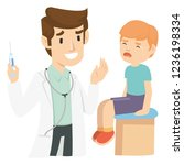a kid crying after injected by... | Shutterstock .eps vector #1236198334