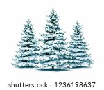 3d snow covered christmas tree... | Shutterstock . vector #1236198637