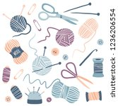 handmade kit icons set  sewing  ... | Shutterstock .eps vector #1236206554