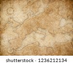 old medieval nautical europe map | Shutterstock . vector #1236212134
