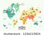 world map with christmas... | Shutterstock .eps vector #1236215824