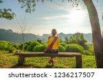 a relaxing traveler is happy... | Shutterstock . vector #1236217507