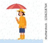 girl holding umbrella in heavy... | Shutterstock .eps vector #1236218764