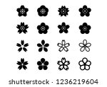 cherry blossoms icons set | Shutterstock .eps vector #1236219604