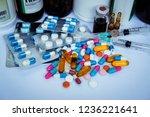 many medicines  pills  tablets  ... | Shutterstock . vector #1236221641