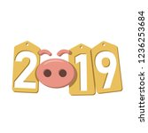 happy new year background. pink ... | Shutterstock .eps vector #1236253684