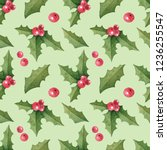 christmas seamless pattern with ... | Shutterstock . vector #1236255547