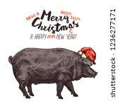 funny vector merry christmas... | Shutterstock .eps vector #1236277171