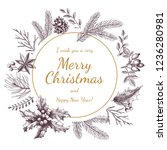 vintage christmas greeting card.... | Shutterstock .eps vector #1236280981