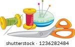 two spools of thread with... | Shutterstock .eps vector #1236282484
