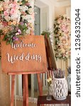 wedding decor. wooden table... | Shutterstock . vector #1236332044