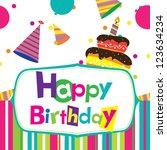 vector happy birthday card | Shutterstock .eps vector #123634234