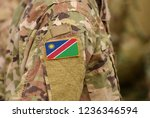 namibia flag on soldiers arm.... | Shutterstock . vector #1236346594