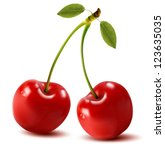 Ripe Red Cherry Berries With...