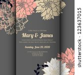wedding card or invitation with ... | Shutterstock .eps vector #123637015