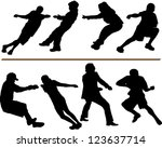 Tug Of War Vector Silhouettes....