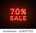 neon 70 sale text banner. night ...   Shutterstock .eps vector #1236377521