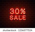 neon 30 sale text banner. night ...   Shutterstock .eps vector #1236377524