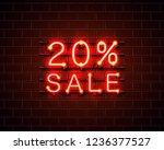neon 20 sale text banner. night ... | Shutterstock .eps vector #1236377527