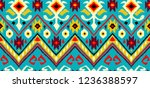 ikat geometric folklore pattern.... | Shutterstock .eps vector #1236388597