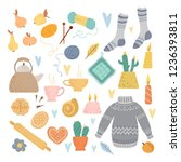 a collection of cozy things on... | Shutterstock .eps vector #1236393811
