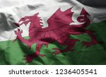wales flag rumpled close up  | Shutterstock . vector #1236405541