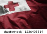 tonga flag rumpled close up  | Shutterstock . vector #1236405814