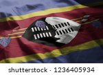 swaziland flag rumpled close up  | Shutterstock . vector #1236405934