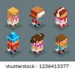 lowpoly children winter clothes ... | Shutterstock .eps vector #1236413377