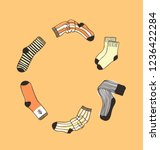 hand drawn frame with socks....   Shutterstock .eps vector #1236422284