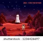 cosmonaut or astronaut on mars  ... | Shutterstock .eps vector #1236426697
