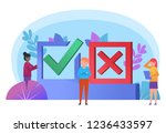 yes  no poll. small people... | Shutterstock .eps vector #1236433597