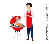 man with bbq apron and grill | Shutterstock .eps vector #1236434974